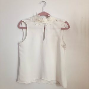 White Zara Basic top with beaded lace collar.